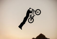 Extreme rider making a bike jum Stock Image