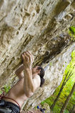 Extreme rock climber. A rock climber climbing a cliff in the woods;close up of the grip Royalty Free Stock Photos
