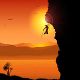 Extreme rock climber. Silhouette of an extreme rock climber against a tropical landscape vector illustration