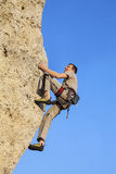 Extreme rock climbing. Royalty Free Stock Image