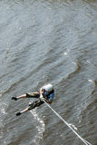 Extreme ropejumping. MOROZKI, RUSSIA - May 27, 2007 - Ropejumpers jumping off the bridge stock photos