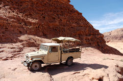 Extreme safari vehicle in Wadi Rum desert, Jordan Royalty Free Stock Images