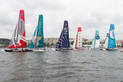 Extreme Sailing Series. Participants compete in the Extreme Sailing Series boat race on May 29, 2011 in Istanbul, Turkey stock photography
