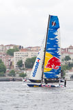 Extreme Sailing Series. Skipper Roman Hagara, Red Bull Extreme Sailing team boat competes in the Extreme Sailing Series, on May 29, 2011 Istanbul, Turkey stock photo