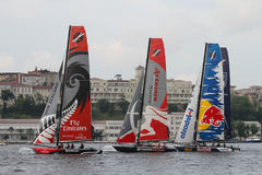 Extreme Sailing Series. Participants compete in the Extreme Sailing Series boat race on May 29, 2011 in Istanbul, Turkey royalty free stock images