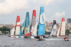 Extreme Sailing Series. Participants compete in the Extreme Sailing Series boat race on May 29, 2011 in Istanbul, Turkey stock images