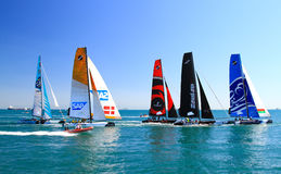 Extreme Sailing Series. Unidentified participants compete in the Extreme Sailing Series boat race on June 09, 2012 in Istanbul, Turkey royalty free stock photo