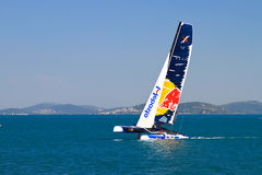 Extreme Sailing Series. Skipper Roman Hagara, Red Bull Sailing team boat competes in the Extreme Sailing Series, on June 09, 2012 Istanbul, Turkey stock image