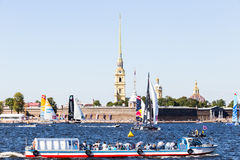 Extreme Sailing Series. Act 6, Saint Petersburg, Russia Peter and Paul Fortress 21 August stock photos