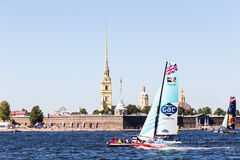 Extreme Sailing Series. Act 6, Saint Petersburg, Russia Peter and Paul Fortress 21 August royalty free stock images