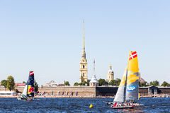 Extreme Sailing Series. Act 6, Saint Petersburg, Russia Peter and Paul Fortress 21 August stock photography