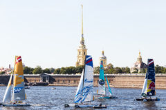 Extreme Sailing Series. Act 6, Saint Petersburg, Russia Peter and Paul Fortress 21 August stock images