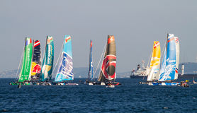 Extreme Sailing Series. ISTANBUL, TURKEY - SEPTEMBER 13, 2014: Extreme 40 Sailboats compete in Extreme Sailing Series stock image