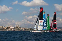 Extreme Sailing Series. ISTANBUL, TURKEY - SEPTEMBER 13, 2014: Extreme 40 Sailboats compete in Extreme Sailing Series stock photography