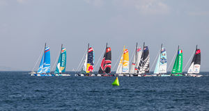 Extreme Sailing Series. ISTANBUL, TURKEY - SEPTEMBER 14, 2014: Extreme 40 Sailboats compete in Extreme Sailing Series royalty free stock images