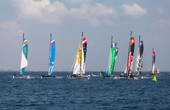 Extreme Sailing Series. ISTANBUL, TURKEY - SEPTEMBER 14, 2014: Extreme 40 Sailboats compete in Extreme Sailing Series stock photos