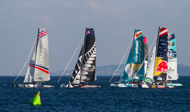 Extreme Sailing Series. ISTANBUL, TURKEY - SEPTEMBER 13, 2014: Extreme 40 Sailboats competes in Extreme Sailing Series stock image