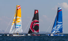 Extreme Sailing Series. ISTANBUL, TURKEY - SEPTEMBER 13, 2014: SAP, Alinghi and Gazprom Team Russia competes in Extreme Sailing Series royalty free stock image