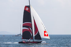 Extreme Sailing Series. ISTANBUL, TURKEY - SEPTEMBER 14, 2014: Skipper Ernesto Bertarelli, Alinghi Team competes in Extreme Sailing Series stock photography