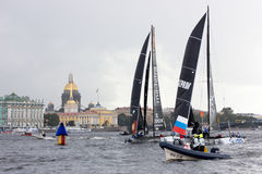 Extreme sailing series in Saint-Petersburg. Saint-Petersburg, Russia - 04.09.2016: Fifth stage of Extreme Sailing Series royalty free stock photo