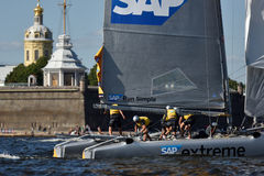 Extreme Sailing Series in St. Petersburg, Russia. St. Petersburg, Russia - August 20, 2015: Catamaran of SAP Extreme Sailing Team of Denmark during the 1st day royalty free stock image