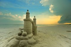 Extreme. Salt life on the beach. Extreme sand castle Royalty Free Stock Photos