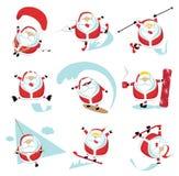 Extreme Santa. Cartoon extreme Santa  set 1. EPS 10. Separate layers Royalty Free Stock Photo