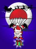 Extreme santa claus parachute Stock Photo