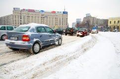 Extreme Schneefälle - Stau Lizenzfreies Stockfoto
