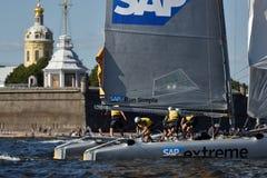 Extreme segelnde Reihe in St Petersburg, Russland Lizenzfreies Stockbild