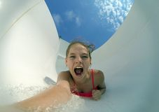 Extreme selfi girl in the water flow Royalty Free Stock Photography