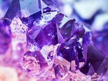 Extreme sharp and detailed Amethyst stone detail, violet variety of quartz. Extreme sharp and detailed Amethyst stone detail, purple variety of quartz royalty free stock photo