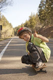 Extreme Skateboarding. On a mountina road Stock Photo