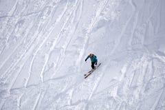 Extreme ski freeride, tracks on a slope Royalty Free Stock Photos