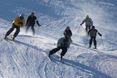 Extreme ski race. On mountain resort ski slope Stock Image