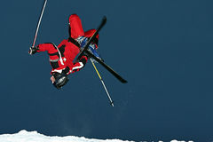 Extreme skier. Jamps and do some atractive tric Stock Image