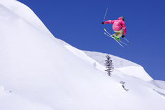 Extreme Skier in the jump Royalty Free Stock Images