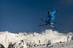Extreme skier jumping. Royalty Free Stock Photos