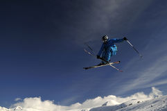 Extreme skier jumping. stock photos