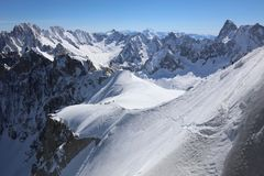 Extreme Skiing and Mountaineering area Vallee Blanchet. France Stock Photography