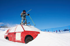 Extreme skiing in the ski park Royalty Free Stock Photography