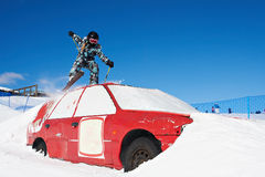 Extreme skiing in the ski park Royalty Free Stock Photos