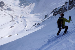 Extreme skiing in the Swiss Alps Stock Images