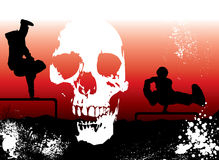 Extreme skull. Extreme sports sunset background overlayed with a skull and ink dots Royalty Free Stock Photos