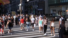 Extreme Slow Motion Pedestrians Crossing a New York City Street stock footage