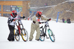 Extreme snow mountain biking Stock Image