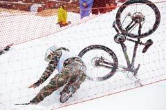 Extreme snow mountain biking Royalty Free Stock Images