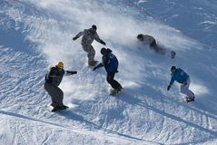 Extreme snowboarding race Royalty Free Stock Images