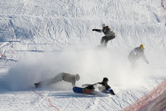 Extreme snowboarding race Stock Photography