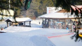 Extreme snowboarding and skiing stock footage